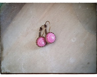 Raspberry mosaic earrings,Mosaic earrings,Drop earrings,Gift ideas,Raspberry earrings,Geometric earrings,Raspberry jewelry,Mosaic Cabochons