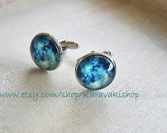 Moon cufflinks, Full moon cufflinks,Blue moon, Blue moon cufflinks, Universe outer space galaxy cufflinks, Groom groomsmen gift,Weddings