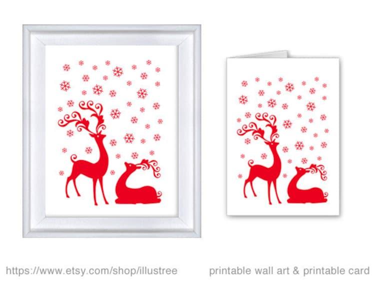 Christmas Card Wall Decor : Printable christmas card print wall art digital by
