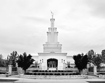 11x14 Digital File, Columbia River Washington Temple,  Black and White, INSTANT DOWNLOAD