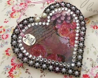 Hanging Heart Decoration, Vintage Flowers, Dream Heart