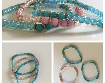 Pink and Turquoise Colored Beads Stretch Bracelet Set of 3