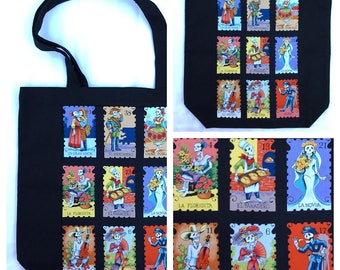 Black Colorful Loteria Market Bag