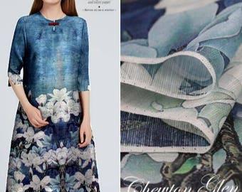 22e235b17d5 Navy blue Silk Linen Fabric printed white flowers wedding bridal fabric  -XYZ01 - 1.40 m wide 55