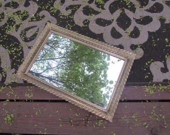 Lovely Vanity Dresser Mirror Gold Tray