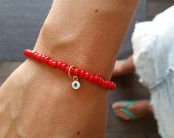 Evil eye beaded bracelet, namaste bracelet, yoga bracelet, bracelet stack