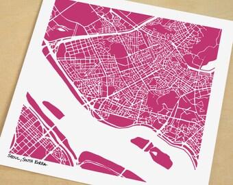 Seoul Map, Hand-Drawn City Print of Seoul, South Korea