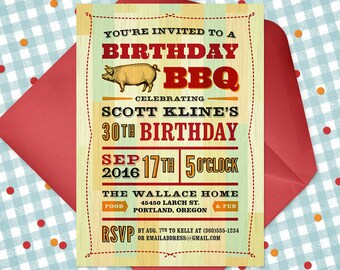 Printable Birthday BBQ Invitation - Birthday Cookout Invite - Double-sided Printable Barbecue Invitation