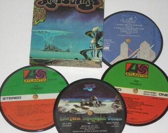 YES vinyl record coasters, record album coasters