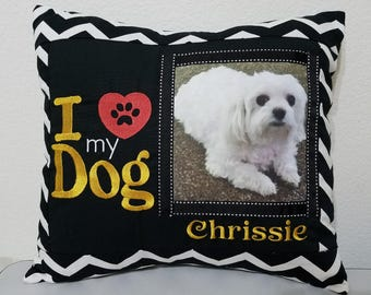 Personalized & Embroidered Pillow with picture of your favorite pet.