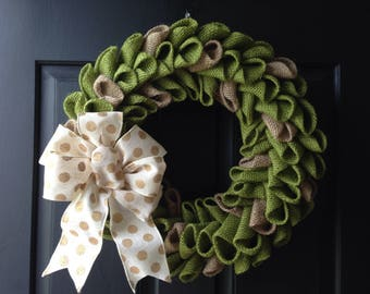 Avocado two tone burlap petal wreath