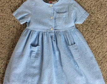 blue and white school girl dress 6/6X