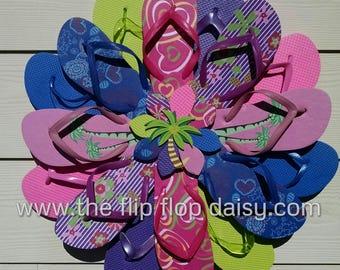 CUTE Flip Flop Wreath Pink & Purple W/ Palm Tree Center Polka Dots Flowers Coastal Door Decor Beach Ocean Unique
