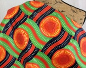 African Wax Print Fabric--Ankara Print Fabric--Genuine Vlisco Voila for You--Tangerine, Lime, Navy Wheels--African Fabric by the HALF YARD