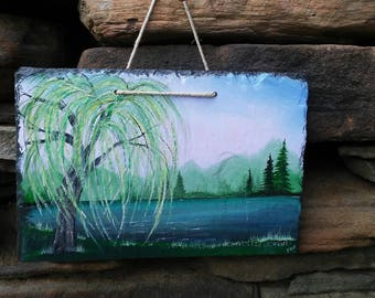 Willow tree painting on slate.