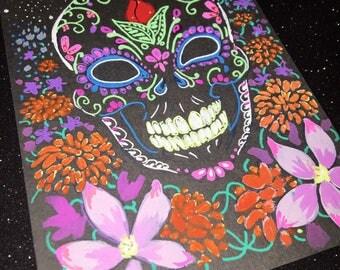 Calavera de Flores - original gel ink and gouache drawing