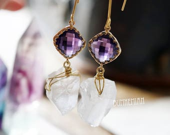 ONE-OF-A-KIND // Organic Crystal Quartz Chunks & Purple cz Earrings, Gypsy Moonchild Gift For Her, Earrings