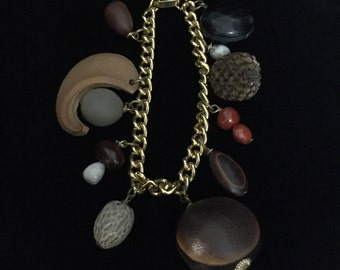 1940's Natural Seed and Pod Charm Chain Bracelet (ABX1G)