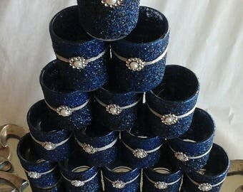 Navy blue sparkly votives great for special occasions table scape wedding favors and more