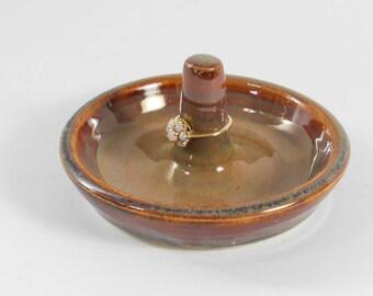 Ring bowl - ring holder - trinket keeper - brown ring bowl - jewelry keeper O172
