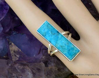 Genuine Sleeping Beauty Turquoise and Sterling Silver Ring. Split Shank. 35mm. Size 7.