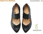 ON SALE Vegan Vicky Black ballerina shoes / handmade vegan flats by Tamar Shalem