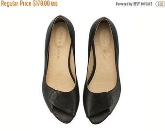 Final Sale Aya peep toe black leather handmade flats