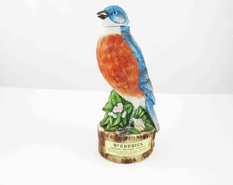 Thrasher Bird Decanter - James B. Beam Distilling 'Beam's Trophy' From 1969 - Awesome Matte Finish Colors - 'Genuine Regal China' Handcraft