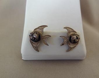 Beautiful Old Silver Filigree & ENAMEL FISH Earrings