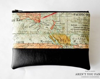 Cosmetic Bag, Clutch, Make-up Bag, Pouch, World Map, Cotton and Faux Leather by Aren't You Fancy!