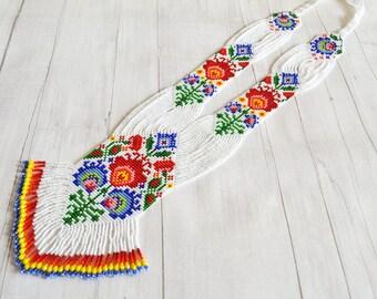 Flower necklace Long gerdan rainbow necklace American native folk style handmade Handmade jewelry folk poland Seed beads necklace Beaded