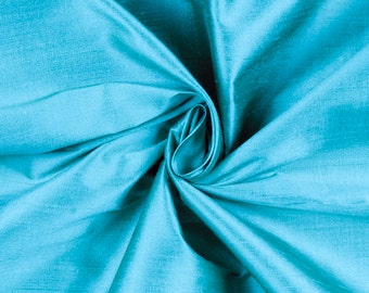 Turquoise Shiny Shantung Satin Fabric by the Yard, DIY Crafts, Decorations, Apparel - 1 Yard Style 3008