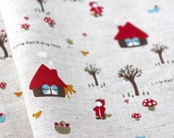 """Linen Blend Little Red Riding Hood. Fabric. Linen/Cotton. Fairy Tale. Half Metre/19.5"""""""