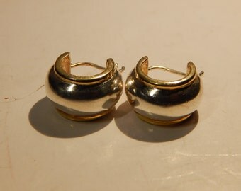 Silver round clasp earrings, 925, 9g, gold covering silver, Italian hooks