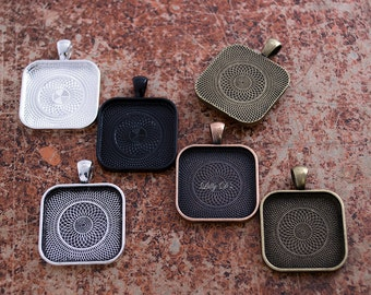 """50- 25mm (1"""") Square with Rounded Corner Blank Pendant Trays - Choose from 5 Colors - Blank ..."""