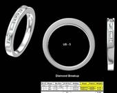 14k White Gold Princess-cut & Baguette Diamond Women's Wedding Band (1/2 cttw, H-I, I1)