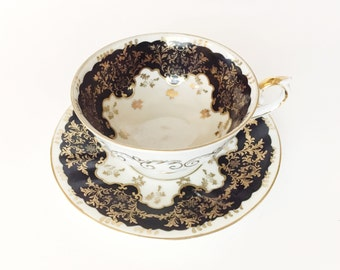 Old Gold Handpainted Japanese Teacup & Saucer