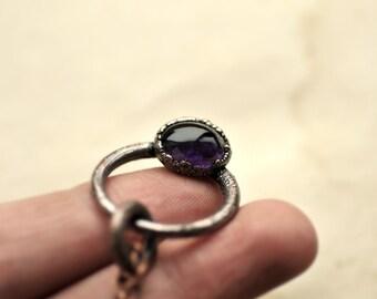 Bohemian Amethyst necklace, purple eye, natural jewelry, bohemian, raw necklace, free spirits, copper, electrofored jewelry, oak, MARIAELA
