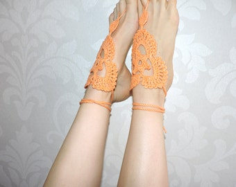 Crochet Barefoot sandals, Victorian Lace, foot jewerly, Croched sandales, m-017