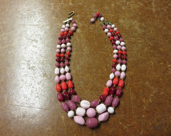 Vintage 50's 60's Japan Pink and Red Glass 3 Strand Glass Beaded Necklace