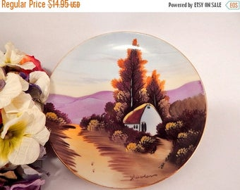 Porcelain Plate Wall Hanging Purple Mountain Cabin Scene Hand Painted in Japan Vintage 1950's Home Decor Collectible