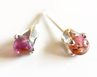Tiny Tourmaline and Sterling Silver Stud Earrings //Tourmaline Gemstone //Pink earrings //Gifts for her //Stocking Filler //Silver Earrings