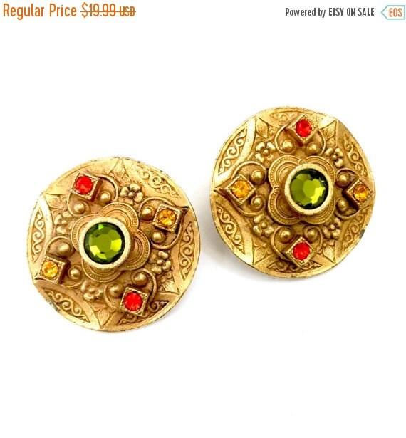 Etruscan Design Robert Rose Earrings, Pierced Earrings, Hyacinth Topaz Green Crystal, Slightly Domed, Antiqued Gold, Statement Earrings
