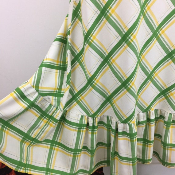 vintage maxi skirt plaid yellow lime green A line flare hippy festival long boho high waisted St Michael UK 14 checkered summer tartan