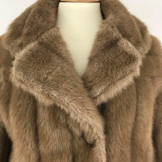 vintage fur coat caramel faux fur beige mink furry long jacket UK 14 fake fluffy glam luxurious margot tannenbaum