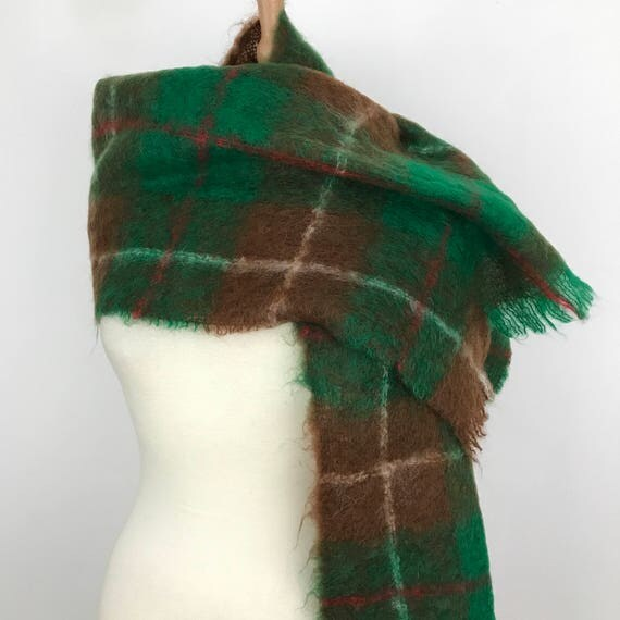 Vintage Mohair Scarf Wrap green brown wide large mohair wool shawl 1950s 1960s cover up palid wool