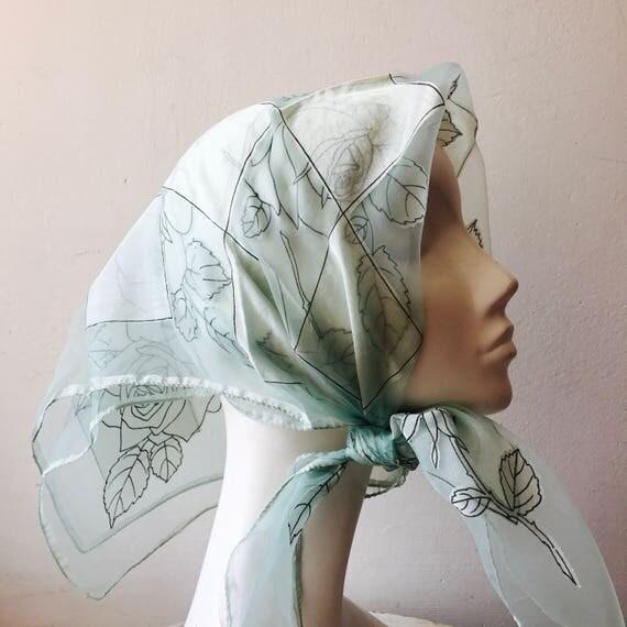 1950s silk chiffon scarf vintage rose checkerboard print 50s rockabilly headscarf seafoam neckerchief square nylon