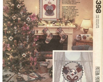 McCalls 4398 Country Christmas Decorating Pattern Holiday Crafts Sewing Pattern Heart & Sole Stockings Angels Card holder Tree skirt UNCUT