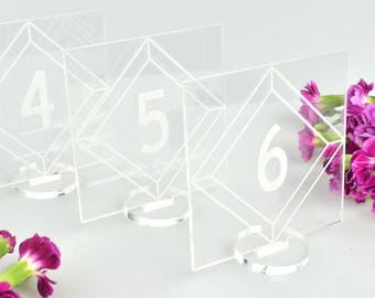 Set Square Acrylic Table Numbers (1-10) with Stand