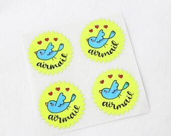 Blue Bird Airmail / Par Avion Hand Drawn Illustrated Sweet Love Neon Snailmail Starburst Stickers